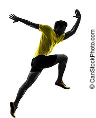 junger mann, sprinter, läufer, rennender , silhouette