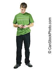 junger mann, texting, auf, mobilfunk