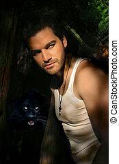 junger mann, und, panther