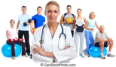 junger, medizinischer doktor, woman.