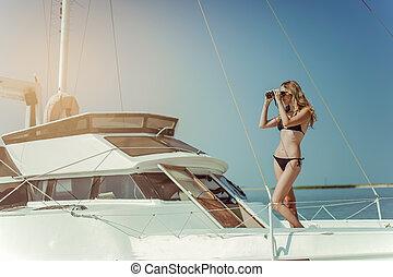 junger, meer, bikini, yacht, entspannt, bord, frau, schöne