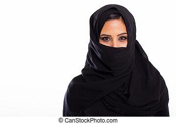 junger, moslem, frau