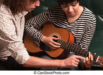 junger musiker, unterrichtet, weiblicher student, spielen,...