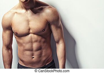 junger, muskulös, mann, oberkörper
