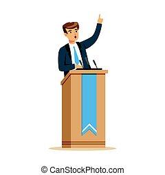 junger, politiker, sprechen, hinten, der, podium, öffentlichkeit sprecher, zeichen, vektor, abbildung