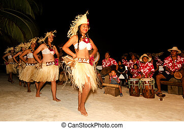 junger, polynesian, pazifik, insel, tahitian, frau, tänzer