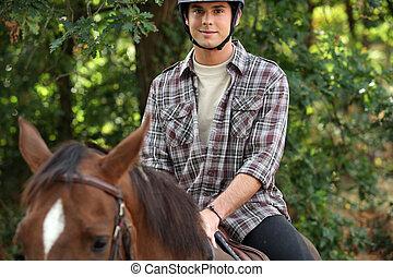 junger, reiten, pferd