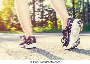 junger, rennender , mann, athlet, draußen