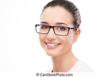 junger, schöne frau, abnützende brille