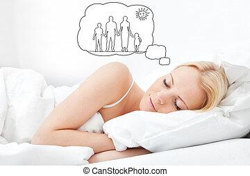 junger, schöne frau, eingeschlafen