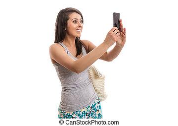 junger, schöne frau, nehmen, selfie