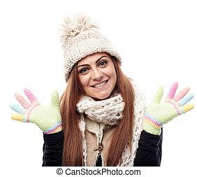 junger, schöne frau, tragen, kappe, schal, und, handschuhe