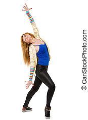 junger, schöne , tänzer, posierend, auf, a, studio, hintergrund