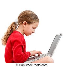 junger, schueler, laptop.