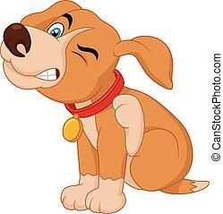 junger, scra, stier, junger hund, grube, karikatur
