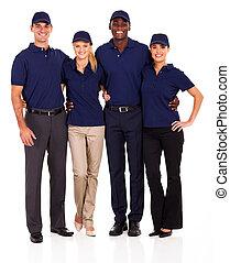 junger, service, mannschaft, gruppenbild