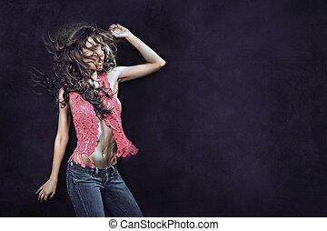 junger, sexy, woman, tanzt