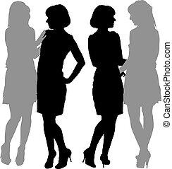 junger, silhouette, zwei frauen