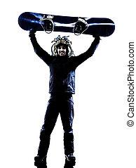 junger, snowboarder, mann, silhouette