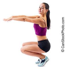 junger, sportliche , frau, machen, gymnastisch, übungen