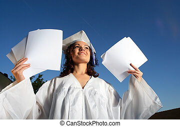 junger, staffeln, frau, mit, leer, papers.