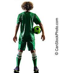junger, teenager, fußballspieler, mann, silhouette, freigestellt