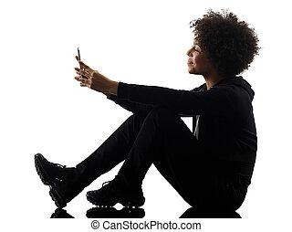 junger, teenager, m�dchen, frau, telefon, schatten, silhouette, freigestellt