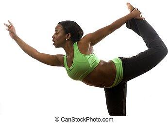 junger, und, hübsch, spanisch, latina, schwarze frau, tragen, übung, strumpfhose, und, klappend, mit, tanz, ballett, bewegungen