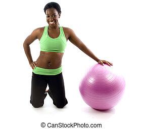 junger, und, hübsch, spanisch, latina, schwarze frau, trainer, tragen, übung, strumpfhose, und, klappend, fitness, kern, kugel
