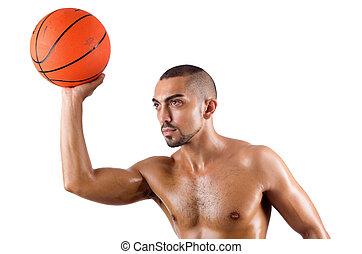 junger, weißes, basketball, freigestellt, spieler