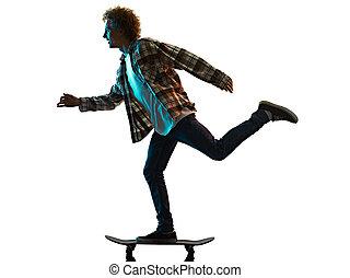 junger, weißes, mann, silhouette, hintergrund, skateboardfahren, schatten, freigestellt, skateboarder