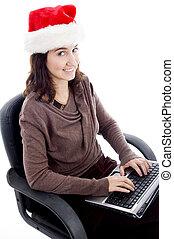 junger, weibliche , arbeiten, laptop