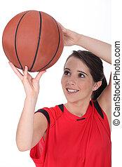 junger, weibliche , basketballspieler