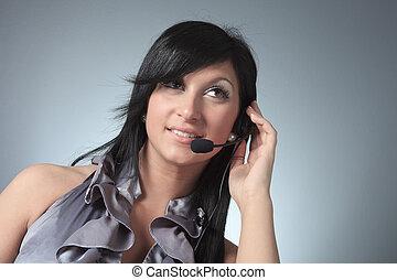 junger, weibliche , kundendienstvertreter, in, headset.
