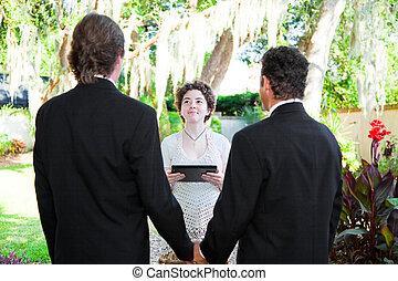 junger, weibliche , minister, heiratet, fröhliches