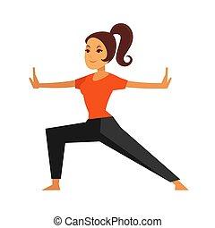 junger, weibliche , person, machen, karate, übung,...