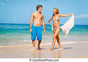 junges, auf, tropischer strand
