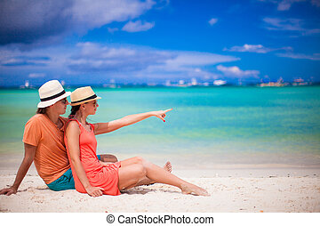 junges, auf, tropischer strand, während, sommer urlaub