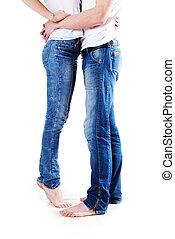junges, barfuß, beine, tragen, blaue jeans, freigestellt, weiß, hintergrund