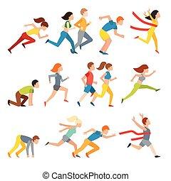 junges, gruppe, rennender , marathon, laufen, mann, sprinten, vector.