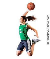 junges mädchen, basketballspieler