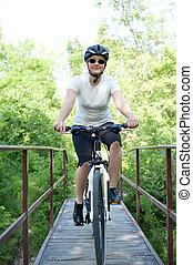junges mädchen, fahrradfahren, auf, a, feld, pfad, -,...