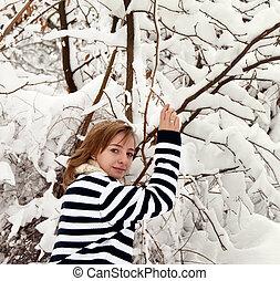 junges mädchen, in, winter