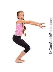 junges mädchen, machen, gymnastische übung