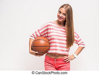 junges mädchen, mit, basketball