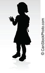 junges mädchen, schwarz, silhouette