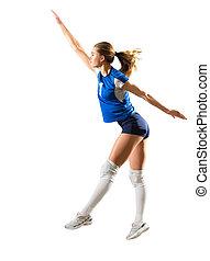 junges mädchen, volleyballspieler