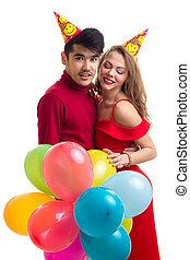 junges, mit, luftballone