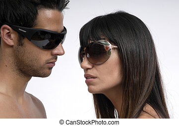 junges, mit, sonnenbrille