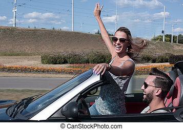 junges, nehmen, selfie, in, umwandelbar, car?